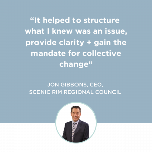 Customer Frame Landing Page - Become a Customer-led Council - Testimonial Tile_2nd_Jon Gibbons, CEO_Scenic Rim Regional Council
