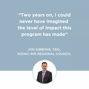 Customer Frame Landing Page - Become a Customer-led Council - Testimonial Tile_Jon Gibbons, CEO_Scenic Rim Regional Council